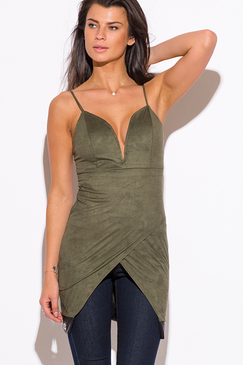 Cute cheap olive green faux suede leather trim low v neck sweetheart fitted party tunic top