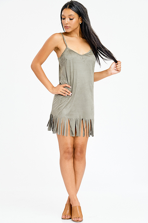 Cute cheap olive green faux suede sleeveless fringe hem shift club mini dress