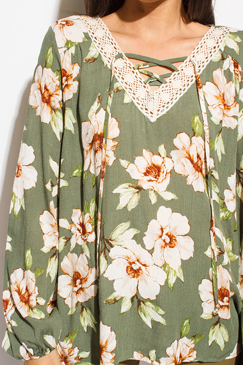 Cute cheap olive green floral print crochet v neck laceup tie front long sleeve boho blouse top