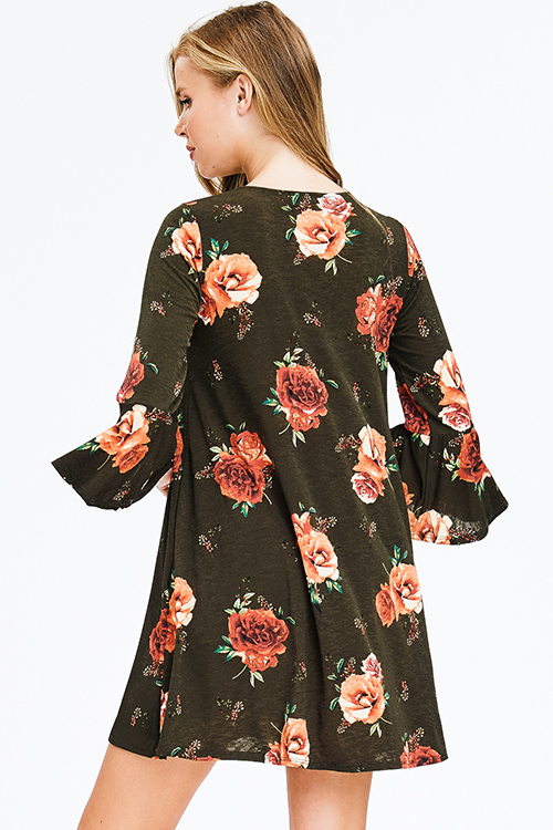 Cute cheap olive green floral print quarter bell sleeve criss cross caged front boho shift mini dress