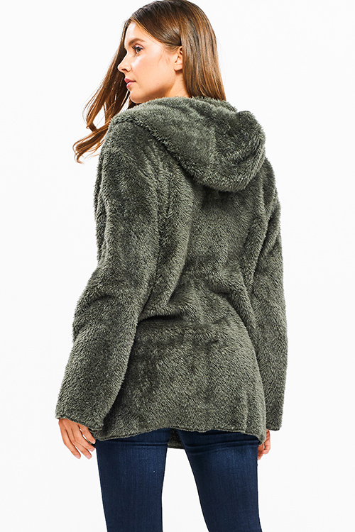 Cute cheap Olive green fuzzy fleece long sleeve open front pocketed hooded cardigan jacket