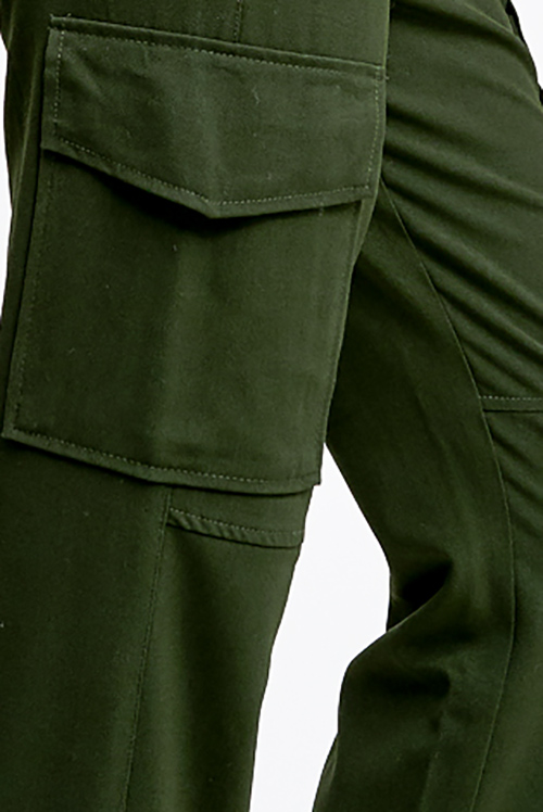 Cute cheap Olive green high waisted cargo pocketed knit jogger pants