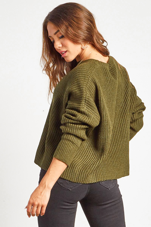 Cute cheap olive green knit long sleeve boho cropped boxy sweater top