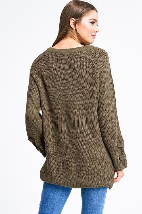 Cute cheap Olive green knit long sleeve eyelet detail caged laceup v neck boho sweater top