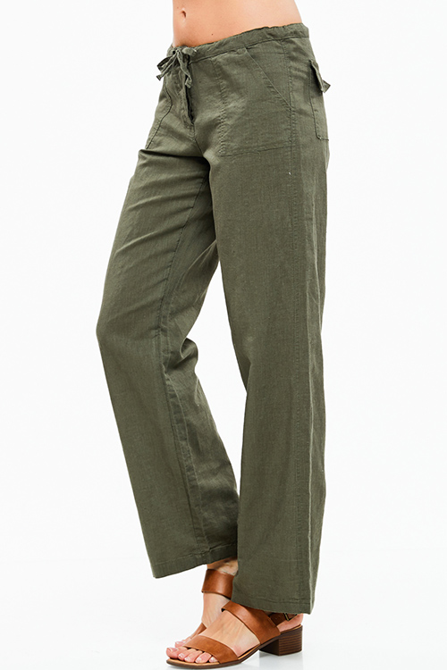 Shop Wholesale Womens Olive Green Linen Wide Leg Pocketed