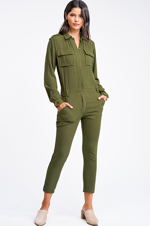 Cute cheap Olive green long sleeve button up belted tapered leg coverall cargo utility jumpsuit