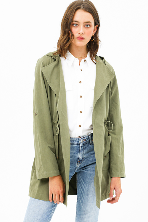 Cute cheap Olive green long sleeve drawstring waist open front hooded trench coat jacket top
