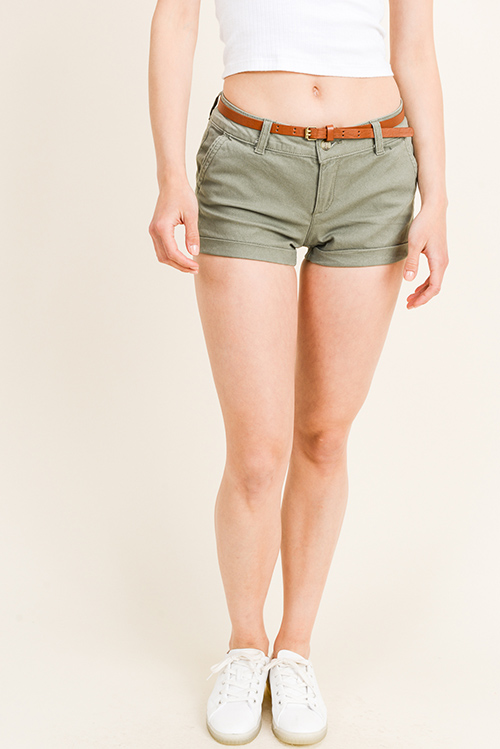 d2bd7dfe2e Cute cheap Olive green mid rise belted rolled cuffed hem pocketed chino  shorts