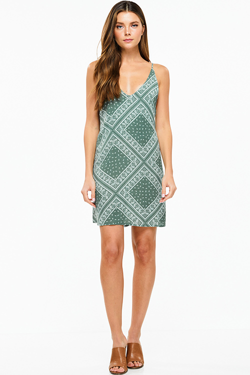 Cute cheap Olive green paisley print sleeveless cut out back boho shift mini sun dress