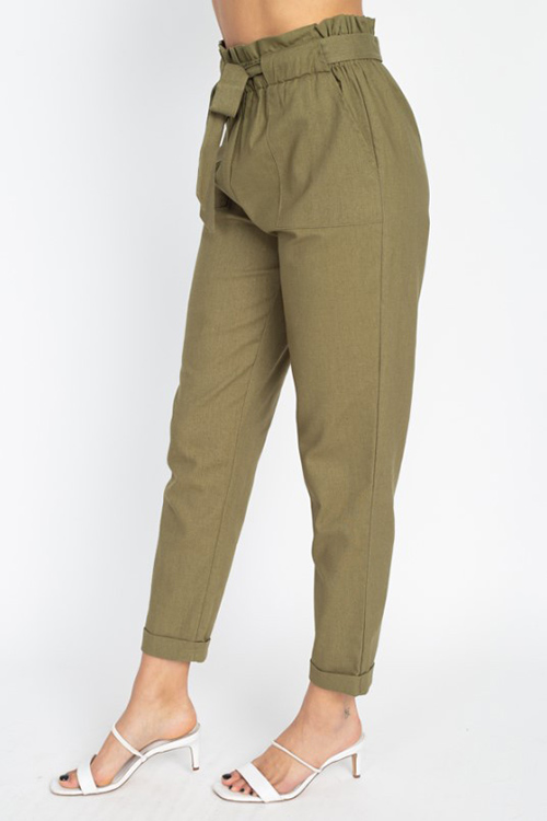 Cute cheap Olive green paperbag high waisted pocketed tie waist tapered harem pants