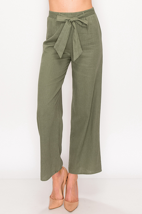 Cute cheap Olive green paperbag high wasited belted wide leg linen culotte pants