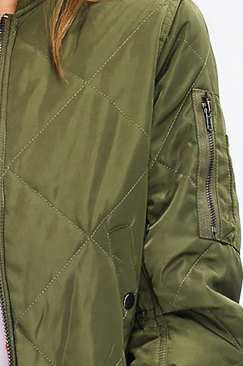 Cute cheap olive green quilted long sleeve zip up pocketed puffer moto bomber jacket