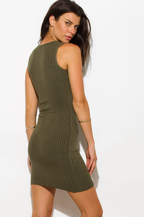 Cute cheap olive green ribbed  knit laceup sleeveless fitted bodycon club sweater mini dress