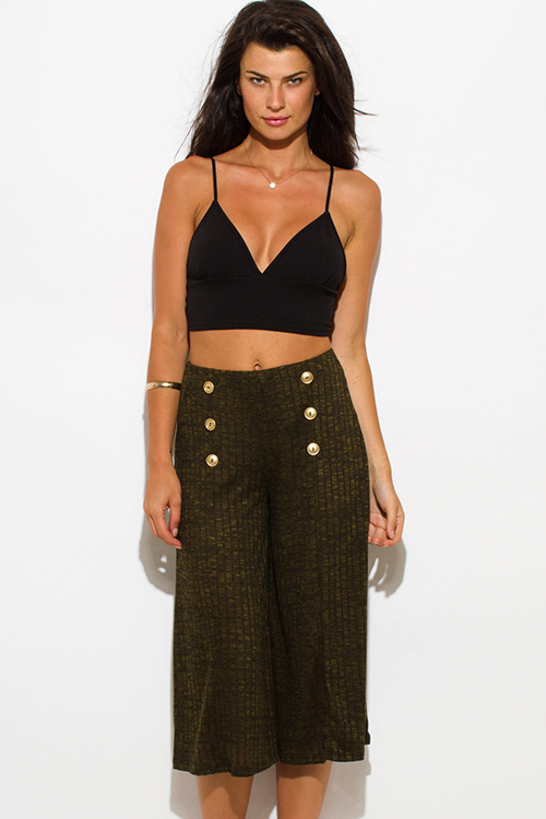Cute cheap olive green ribbed knit button embellished evening wide leg capri pants