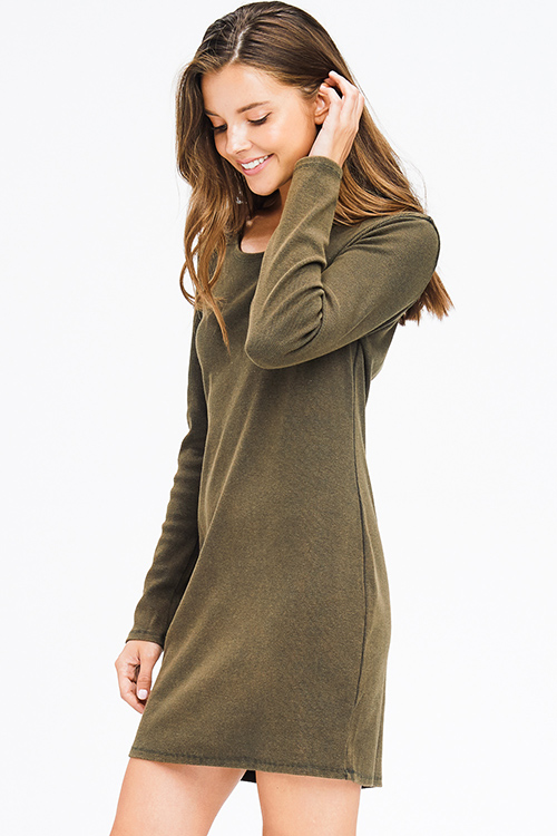 Cute cheap olive green ribbed knit long sleeve round neck cut out back boho mini dress