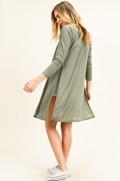 Cute cheap Olive green ribbed knit long sleeve slit sides open front boho duster cardigan