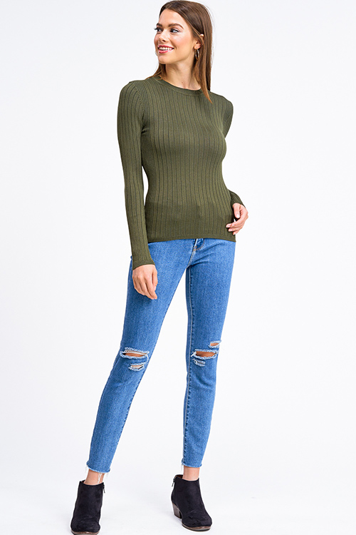 Cute cheap Olive green ribbed knit round neck long sleeve fitted sweater top