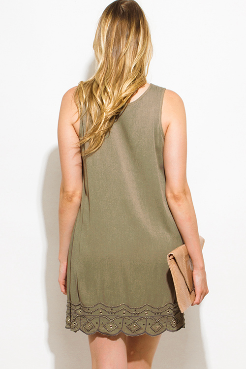 Cute cheap olive green sequin embellished sleeveless scallop hem cocktail party shift mini dress