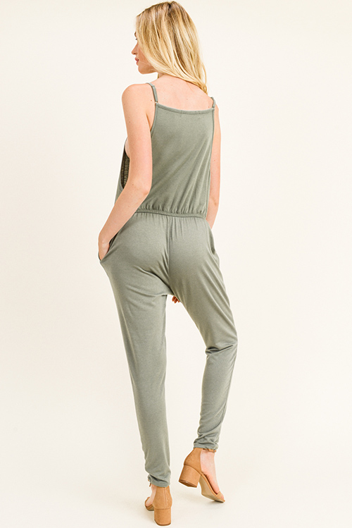 Cute cheap Olive green sleeveless drawstring lounge pocketed harem jogger jumpsuit