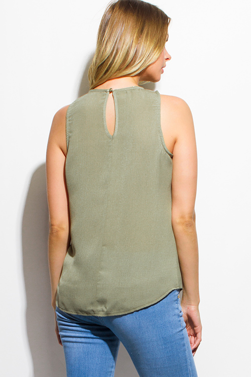 Cute cheap olive green sleeveless tiered crochet trim boho blouse tank top