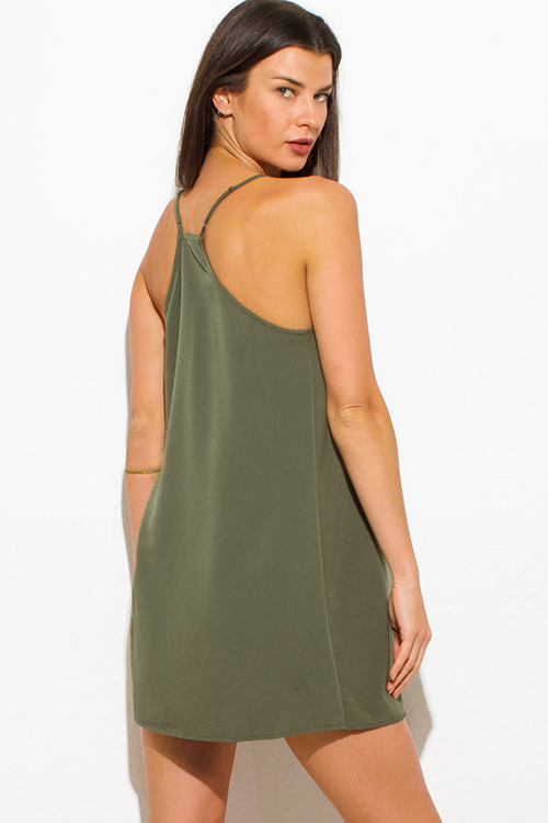 Cute cheap olive green spaghetti strap cut out racer back cocktail party shift mini dress