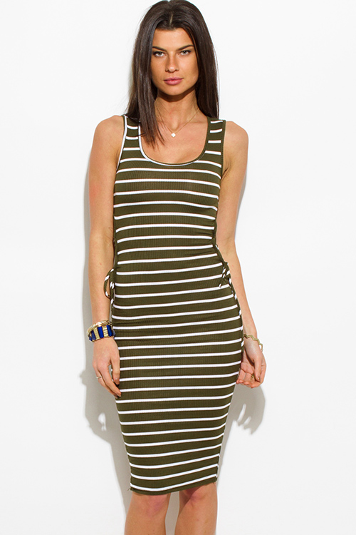 Cute cheap olive green striped ribbed knit cut out laceup side bodycon fitted club midi dress