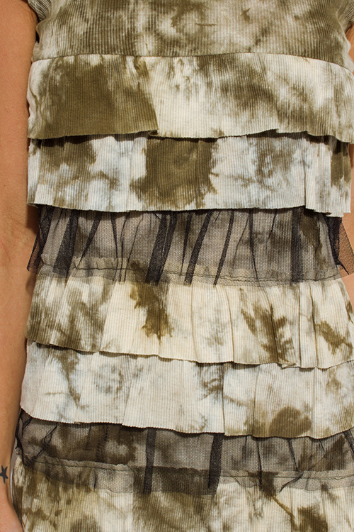 Cute cheap olive green tie dye cap sleeve layered tiered ruffle boho tunic mini dress
