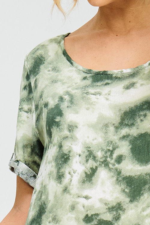 Cute cheap olive green tie dye cuffed short sleeve asymmetrical hem tunic boho mini sun dress