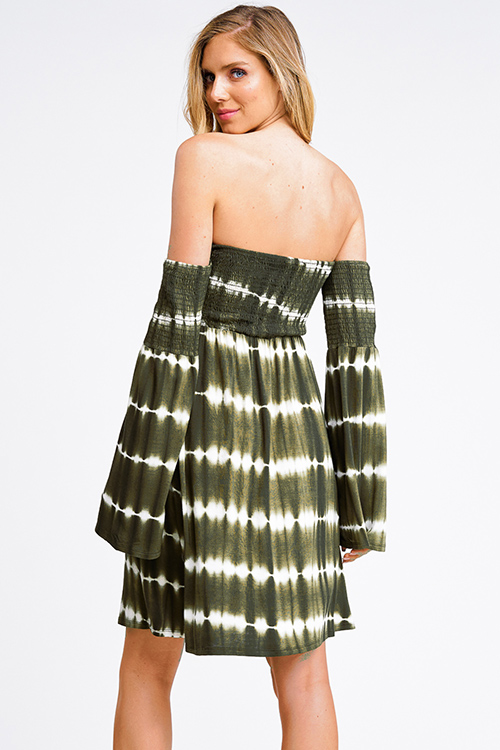 Cute cheap Olive green tie dye smocked off shoulder long bell sleeve boho mini dress