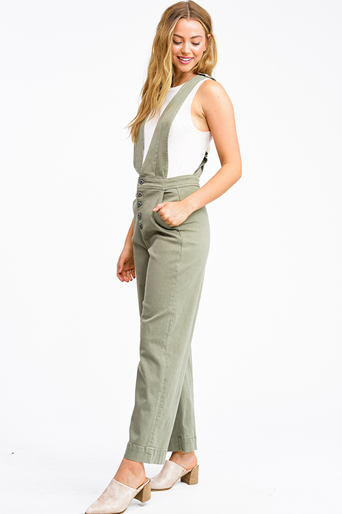 Cute cheap Olive green twill denim a-line wide leg pocketed button up boho overalls jumpsuit