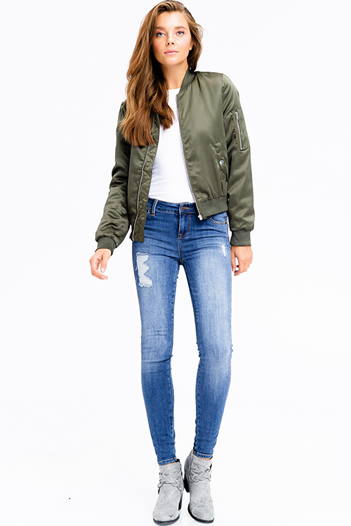 Cute cheap olive green zip up banded hem pocketed moto cropped puff bomber jacket