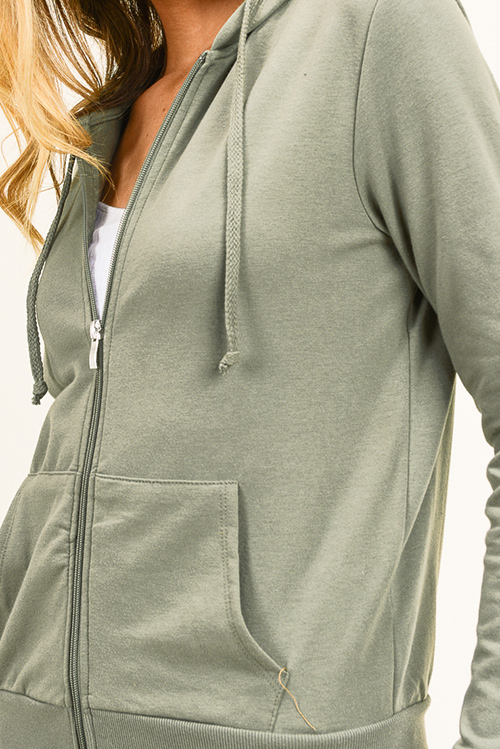 Cute cheap Olive green zip up pocketed zip up sweatshirt hoodie