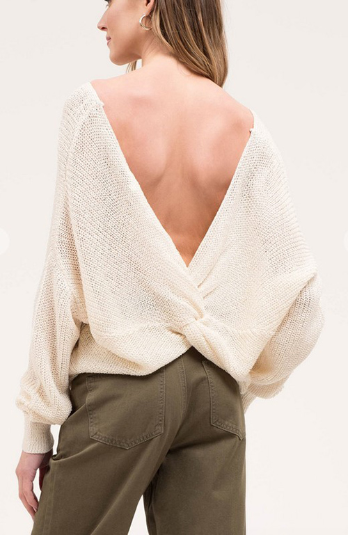 Cute cheap open back twist sweater