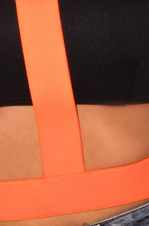 Cute cheap neon orange black caged cut out off shoulder bandage crop party top