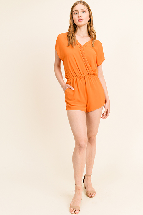 Cute cheap Orange chiffon pleated surplice v neck short sleeve resort pocketed romper