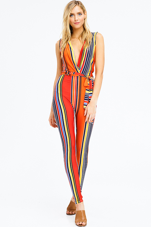 Cute cheap orange color block striped deep v neck sleeveless faux wrap tie waist harem club jumpsuit