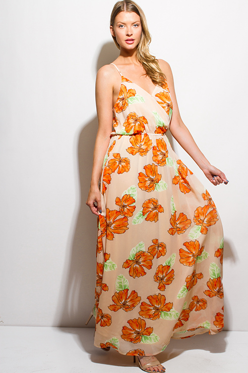 Cute cheap orange floral print chiffon faux wrap keyhole back boho evening maxi sun dress