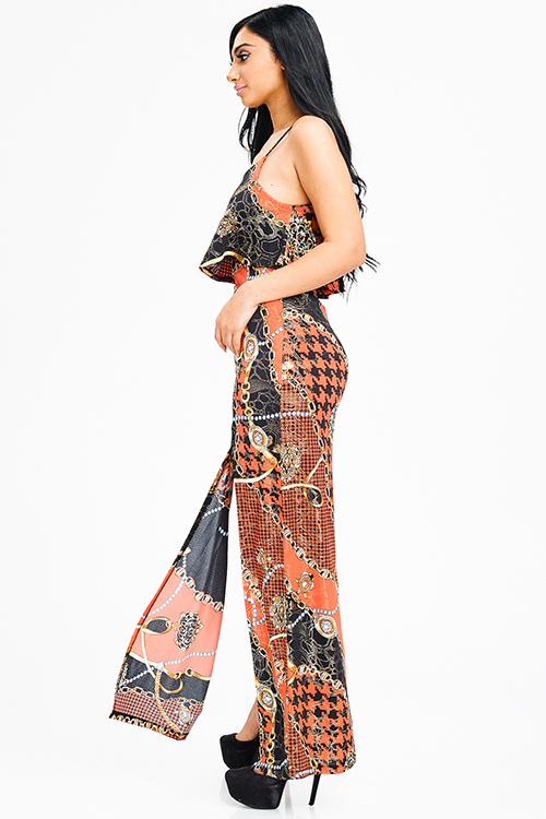 Cute cheap orange multicolor abstract print double high slit criss cross back evening maxi dress