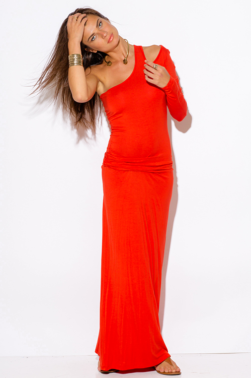 Cute cheap orange red one shoulder cut out sleeve ruched fitted summer maxi dress