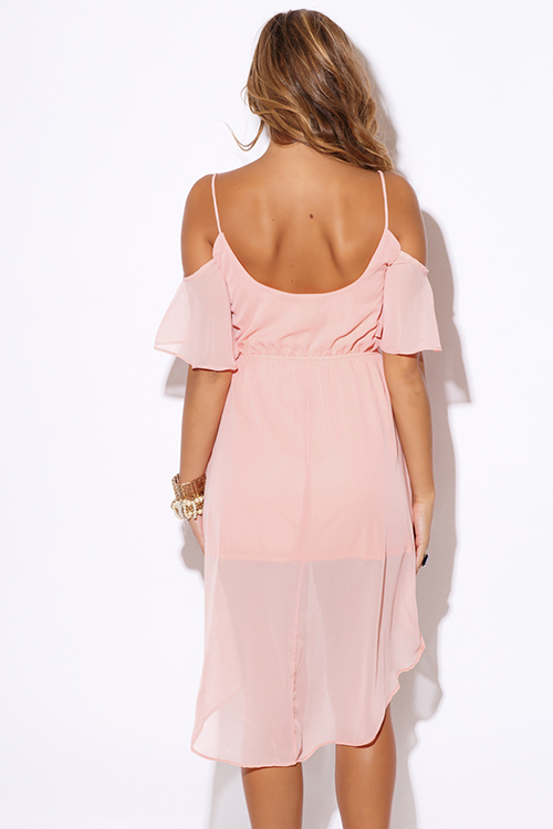Cute cheap pastel light pink chiffon cold shoulder ruffle boho high low party dress