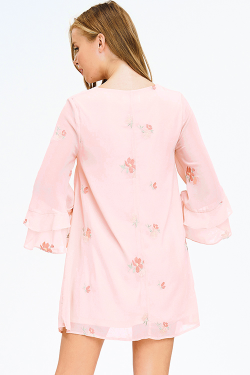 Cute cheap peach pink chiffon embroidered v neck ruffle wide sleeve shift boho mini dress