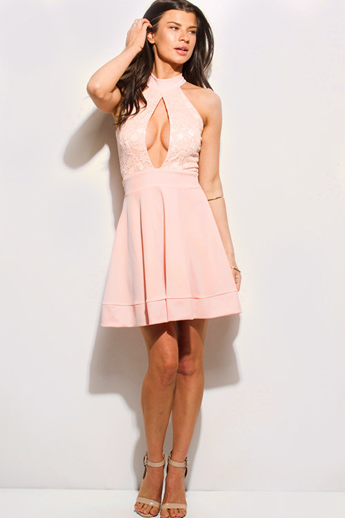 Cute cheap peach pink lace sleeveless halter keyhole cut out cocktail party a line skater mini dress