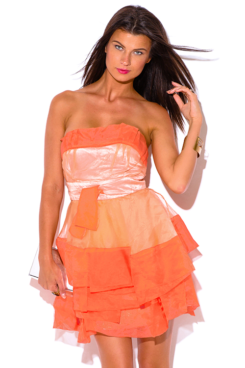 Cute cheap papaya orange organza ruffle strapless tafetta formal cocktail party mini dress