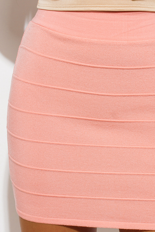 Cute cheap peach pink ribbed knit bandage bodycon fitted club mini skirt