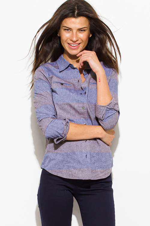 Cute cheap penny stock gray blue chambray rugby stripe button up blouse top