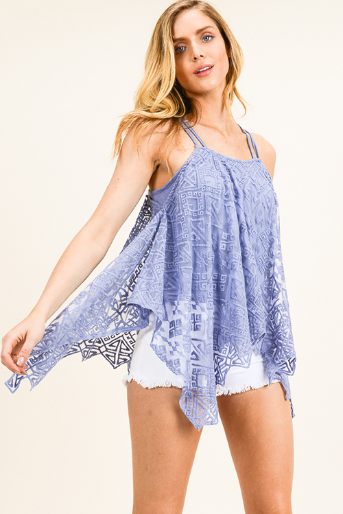 Cute cheap Periwinkle dusty blue sheer crochet lace asymmetrical scallop hem boho tank top