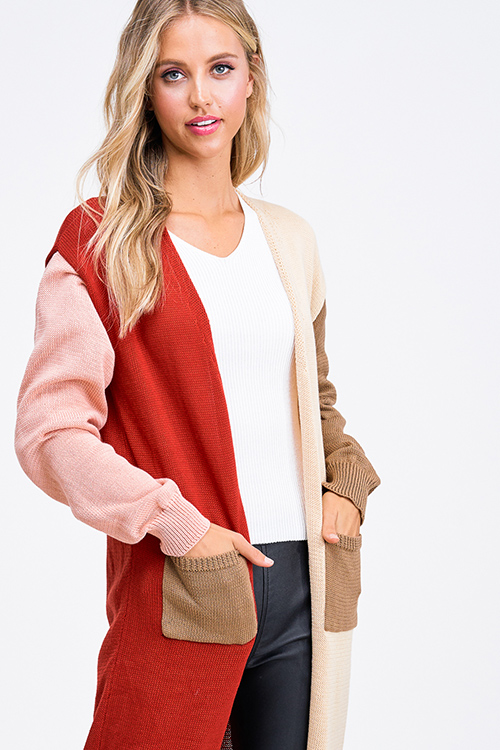 Cute cheap Pink color block long sleeve pocketed open front boho duster cardigan jacket top