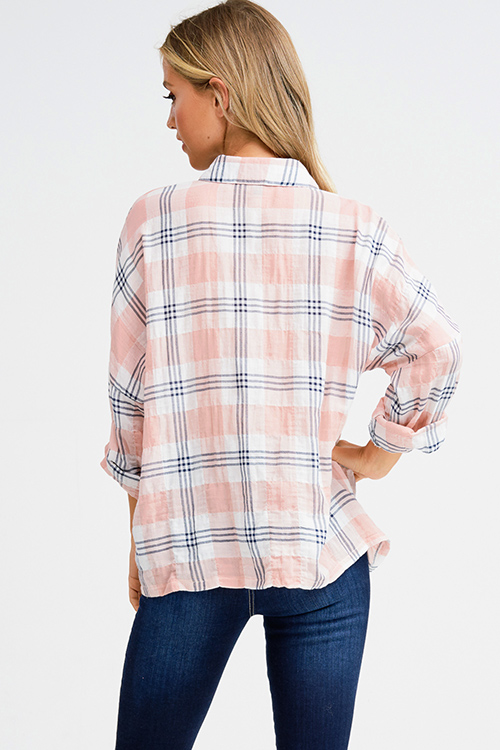 Cute cheap Pink cotton plaid embroidered button up long dolman sleeve boho top