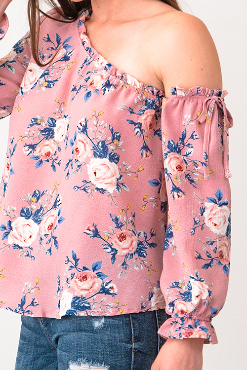 Cute cheap Pink floral print one shoulder long sleeve boho blouse top