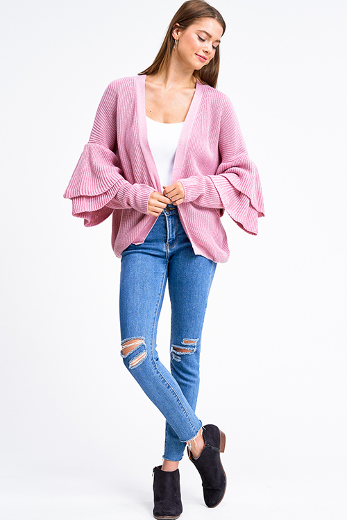 Cute cheap Pink knit long tiered sleeve open front boho sweater cardigan
